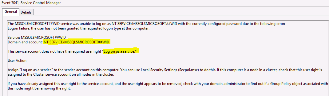 Failure to configure AD FS | Log on as a service -