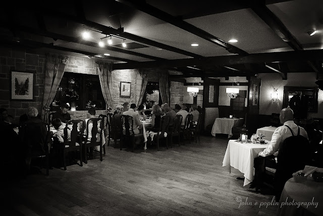 The dining room at The Briarwood Inn during a wedding reception in Colorado
