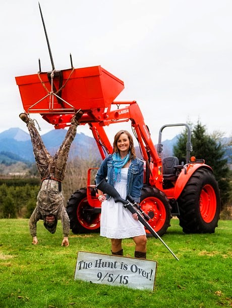 "Watch Happy Couple Stevie Beard and Brady Hogevoll announce their engagement in a hilarious ""Hunt is Over"" photo shoot by photographer Joshua Rainey as wife poses with a rifle and husband as a hunted down trophy animal via geniushowto.blogspot.com viral photo shoot"