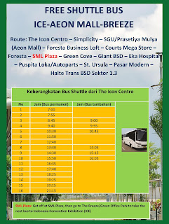 Rute dan Jadwal Keberangkatan Free Shuttle Bus Ice-Aeon Mall-Breeze di BSD City