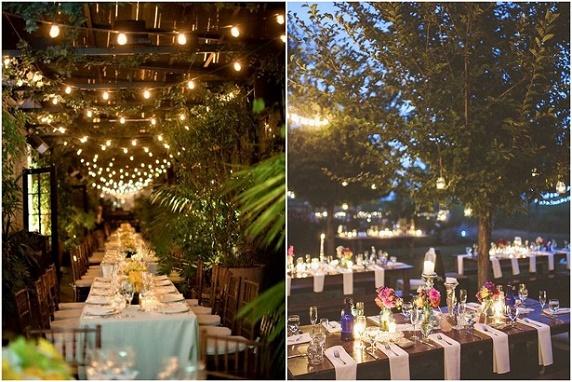 Dekoracje światłem na weselach, świace na weselu, aranżacje miejsc na wesele, wesele w plenerze, trendy ślubne 2016