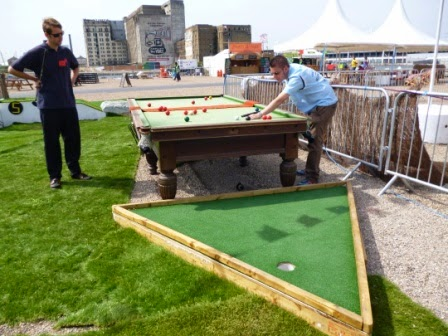 Playing Crazy Golf on a Snooker Table at the Golf Apocalypse of 2012