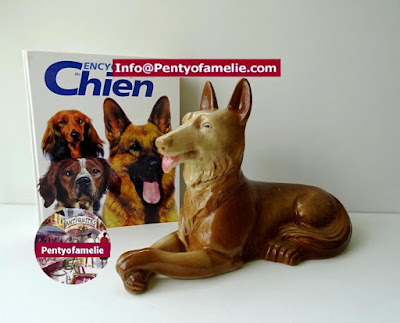 Hard to Find French Brown German Shepherd Statue lying down produced by St Clement Pottery made in France