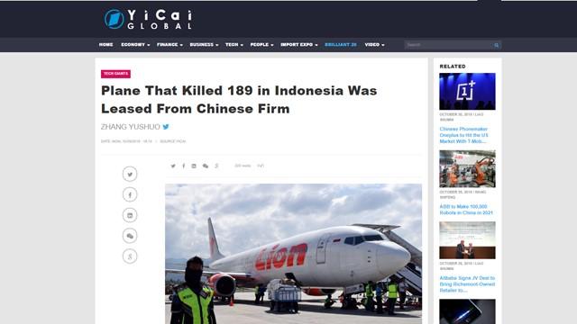 Lion Air JT 610 yang Jatuh Diduga Disewa dari Perusahaan China