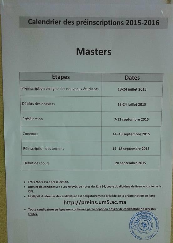 Masters Et Masters Specialises Fsjes Agdal Rabat 2015 2016