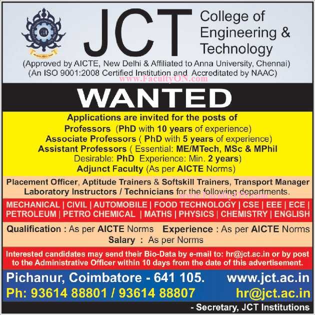 Jct College Of Engineering And Technology Coimbatore