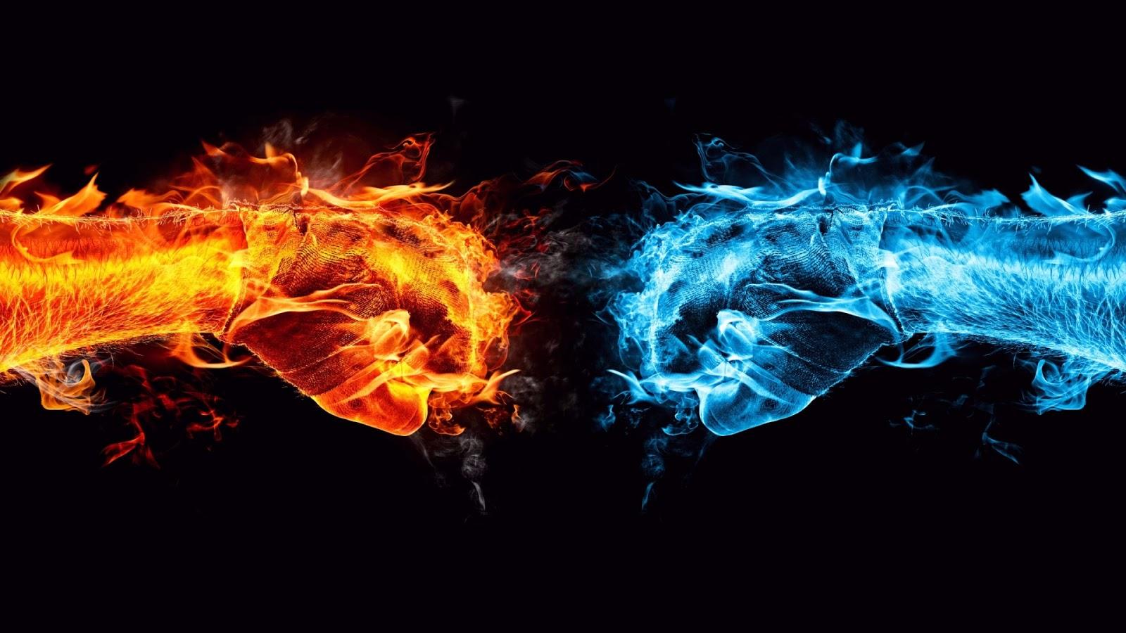 Fondo de Pantalla Abstracto Lucha de fuego y hielo  Imagenes Hilandy