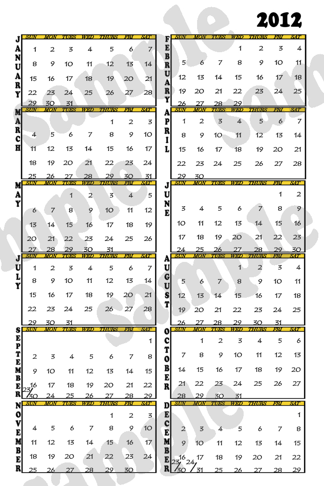 Photography Blography 2012 Vertical Calendar Template