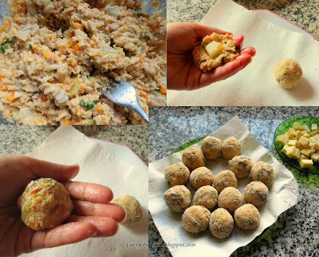 """Albóndigas  de verdura con queso – Vegetarian """"meatballs"""" with cheese"""