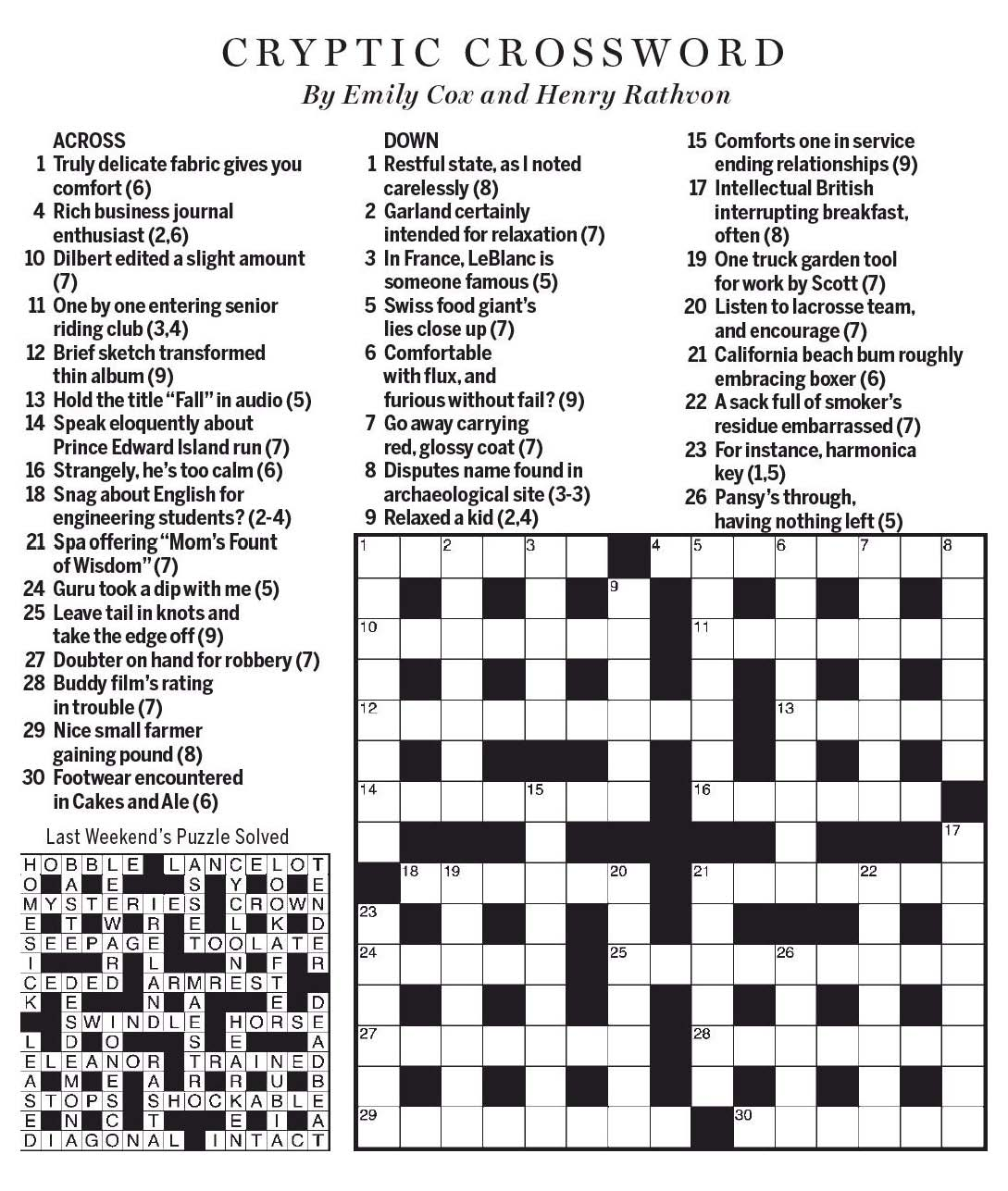 National Post Cryptic Crossword Forum Saturday November