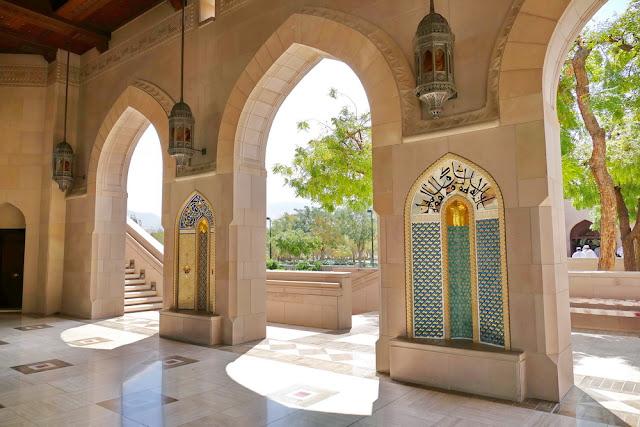 Seitengang, Sultan, Qabus, Moschee, Muscat, Oman, verziert, Laterne, Sicht