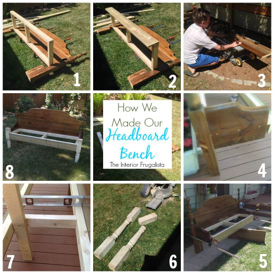 """How to repurpose a thrift store double headboard and footboard set into a lovely outdoor bench for two with handmade """"growing old together"""" graphic."""