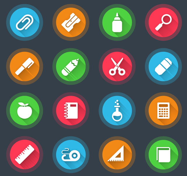 16_models_of_school_supplies_icon_vectors
