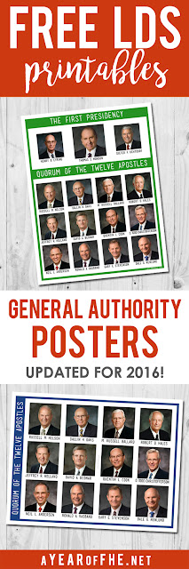 A Year of FHE // Free printables of newly updated posters of the LDS Quorum of the Twelve Apostles and a poster with the Quorum of the Twelve + the First Presidency. This is great for General Conference! #lds #ldsconf #prophet #apostles