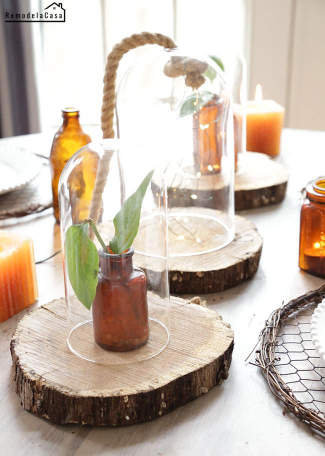 Cloches and wood slices centerpiece  #thdprospective