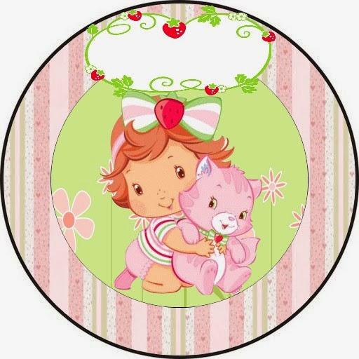 Toppers o Etiquetas de Fiesta de Strawberry Shortcake Bebé para imprimir gratis.
