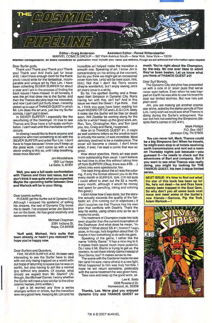Read online Silver Surfer (1987) comic -  Issue #45 - 33
