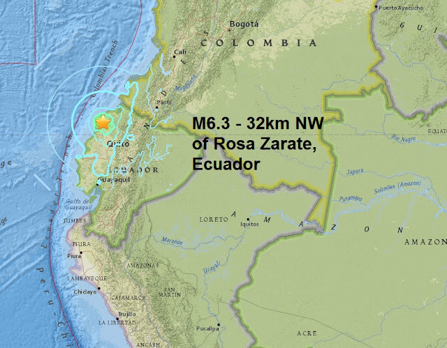 A magnitude 6.3 - 32km NW of Rosa Zarate, Ecuador is the first major quake of July  Untitled