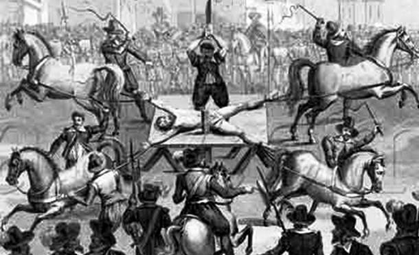 25 การทรมานโหดที่สุดในโลก ม้าแยกร่าง (Hanged, Drawn, and Quartered)