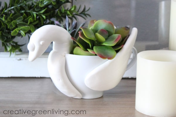 Teacup succulent planter that looks like a swan - swan craft