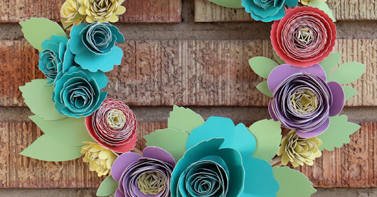 Rolled Paper Flower Spring Wreath--with Cricut Explore Air 2!