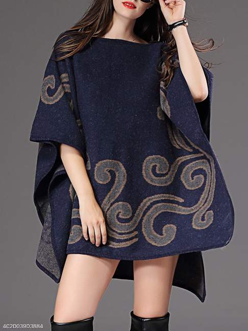 Boat Neck Printed Cape Sleeve Sweater - FashionMia Special Price:US$28.95