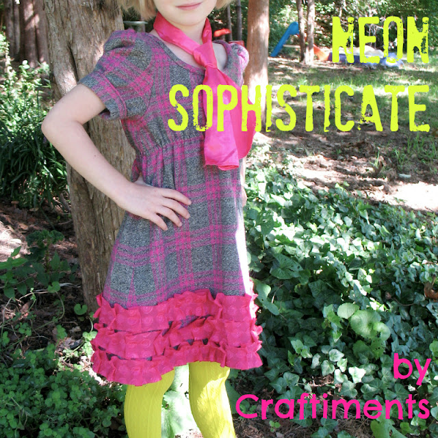 Craftiments:  Neon Sophisticate, a plaid flannel dress with bias cut pleated ruffles