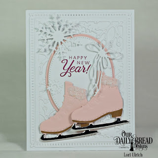 Our Daily Bread Designs Stamp Set: Card Greetings, Custom Dies: Ice Skate, Ovals, Pierced Ovals, Snowflake Sky, Snow Crystals