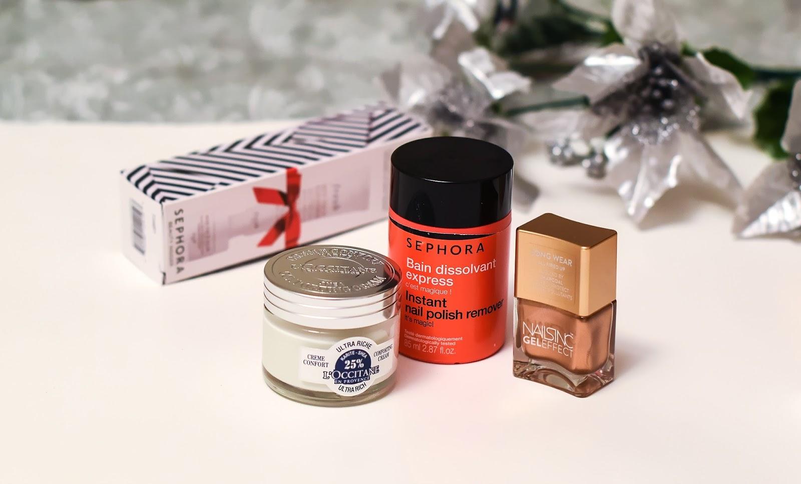 L'occitane Shea Ultra Rich Comforting Cream, Sephora Nail polish remover, Skincare