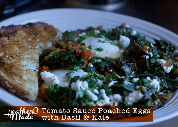 Tomato Sauce Poached Eggs with Basil, Kale. breakfast, lunch, dinner recipe.