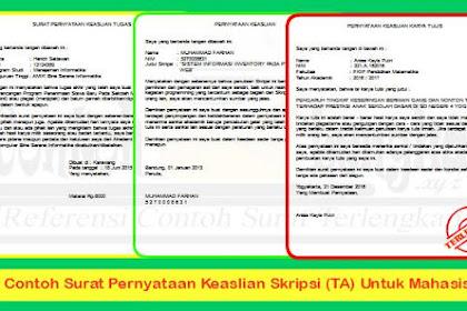 3 Contoh Surat Pernyataan Keaslian Skripsi (TA) Untuk Mahasiswa
