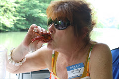 Beverly Sucking a Crawfish Head - Blog Party