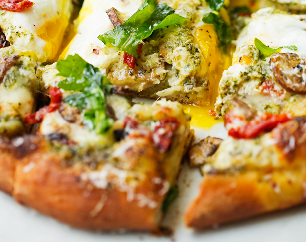 Breakfast Pizza Basil Pesto Sun Dried Tomatoes
