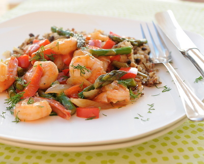Stir-Fried Shrimp with Asparagus or other Fresh Summer Vegetables, another Quick Supper ♥ KitchenParade.com, just shrimp and your choices of vegetables tossed in an addictive sweet 'n' sour sauce. High Protein. Weight Watchers Friendly. Gluten Free.