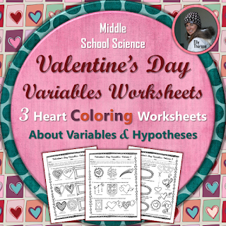 Valentines Day Variables Worksheet Set