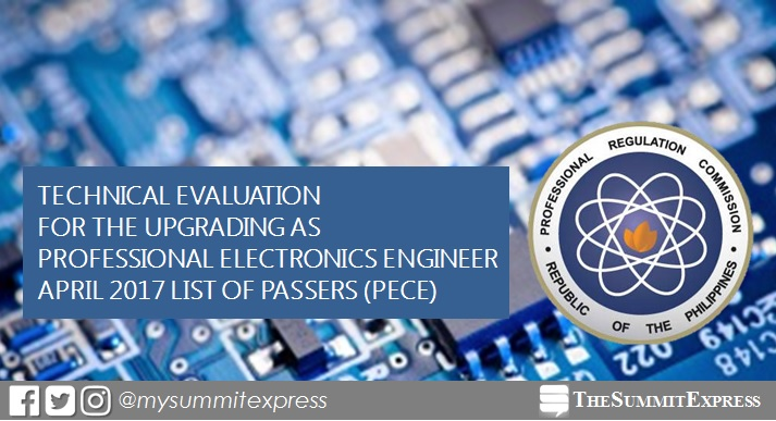 April 2017 Professional Electronics Engineer (PECE) results