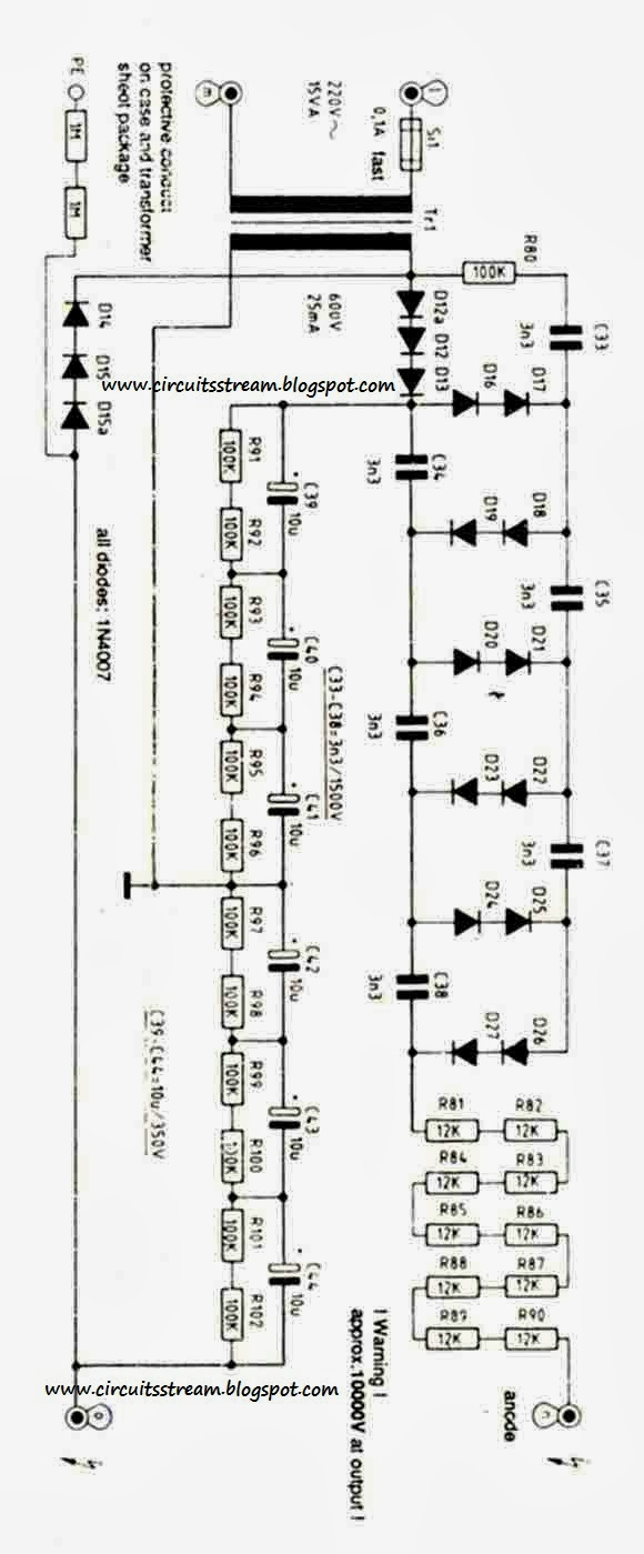 10 KV High Voltage Power Supply Circuit Diagram