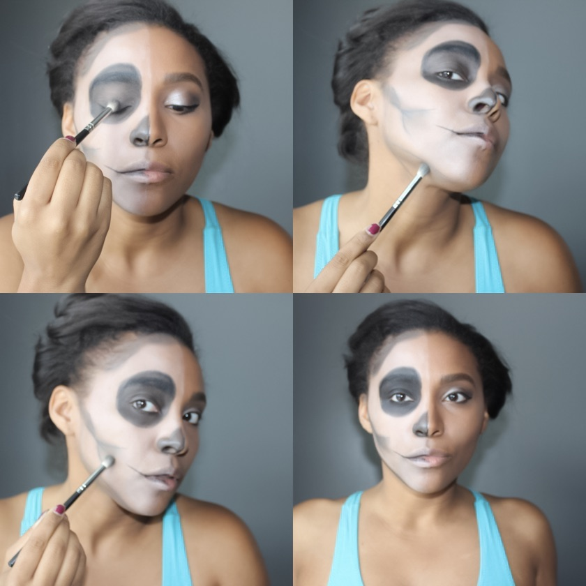 halloween makeup, glam skull, makeup tutorial