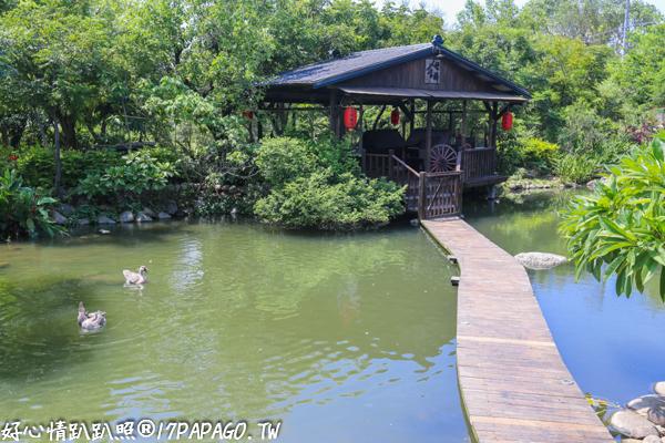 台中沙鹿|人間食解-免費參觀古色古香的庭園,小木屋、生態池,親子同遊好去處
