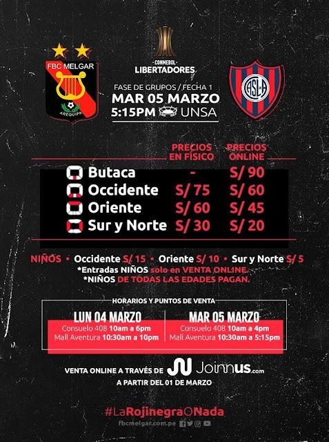 Copa libertadores Melgar vs San Lorenzo entradas