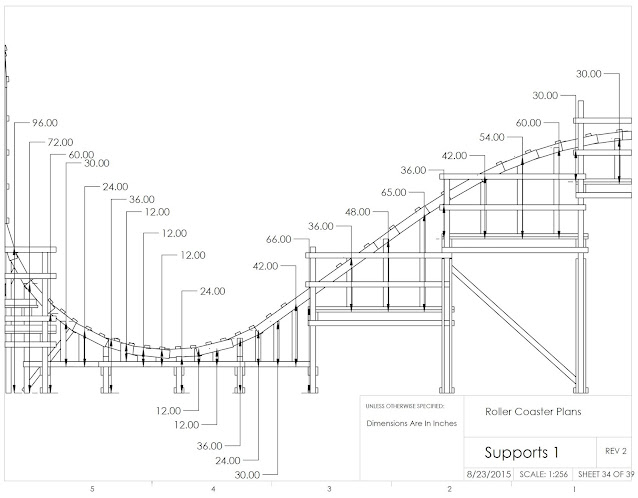 engineering drawing with estimated vertical heights of track supports