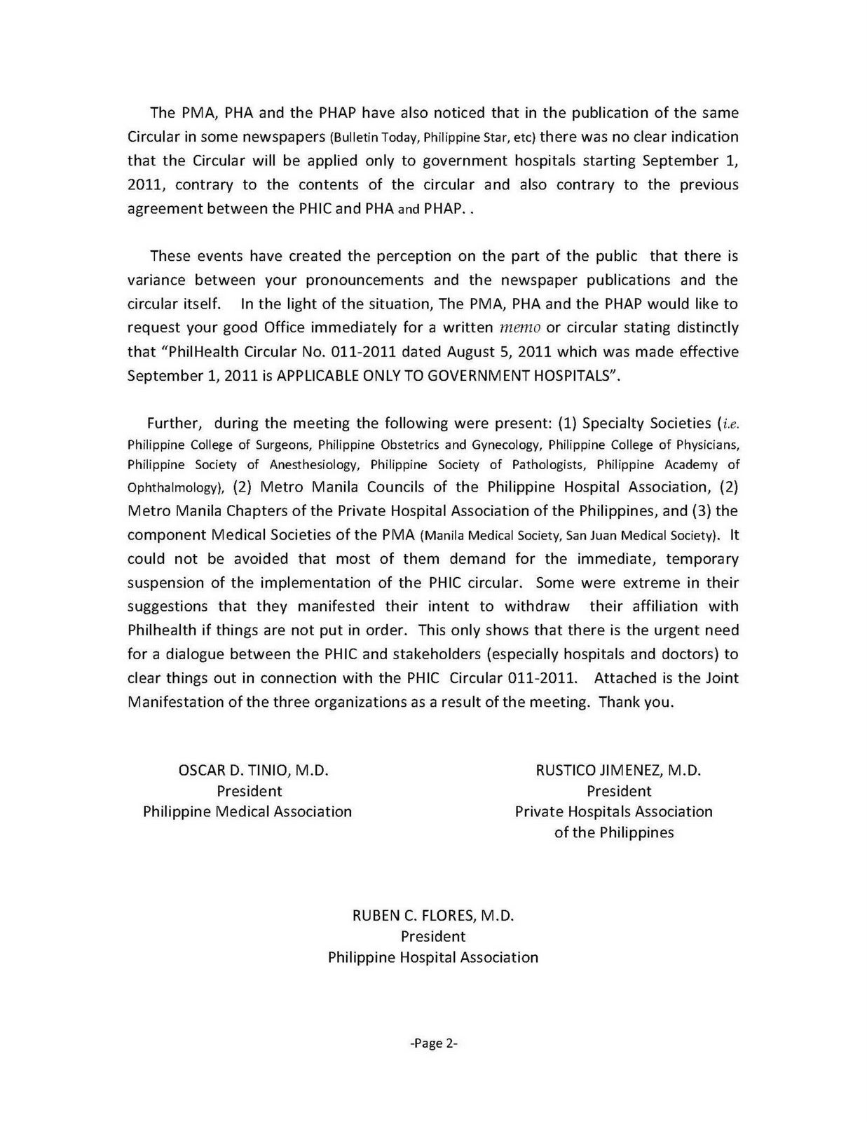 Philhealth 101 Letter Of Pma Phap Pha To Philhealth Re