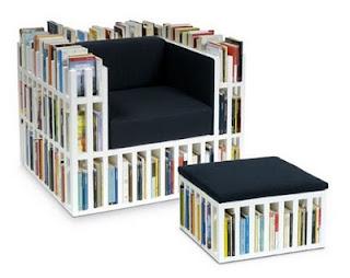 diseño de silla muy ingeniosa con libros