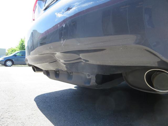 Dents on under-side of bumper not obvious when viewed from standing.