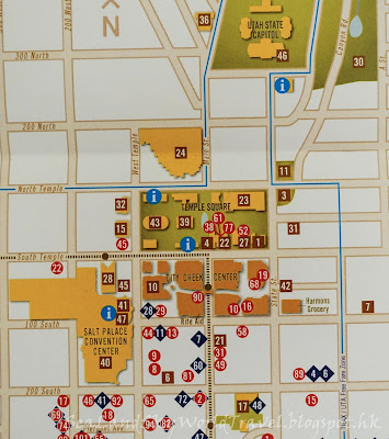 鹽湖城, 聖殿廣場, Temple Square, salt lake city, Creek Center, map 鹽湖城聖殿廣場 Temple Square, map 地圖