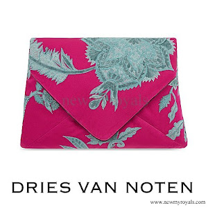 Queen Mathilde DRIES VAN NOTEN - Floral jacquard silk clutch