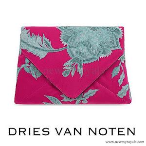 Queen Mathilde DRIES VAN NOTEN - Floral jacquard silk clutch