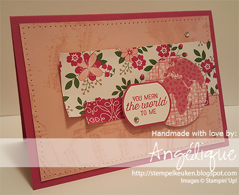 "http://stempelkeuken.blogspot.com Stampin' Up! Going Global Angélique Nederpel  Blushing Bride, Going Global, Love Blossoms DSP, Piercing Tool, Rhinestone Basic, Rose Red, Wink Of Stella, World Traveler, 2"" Circle Punch"