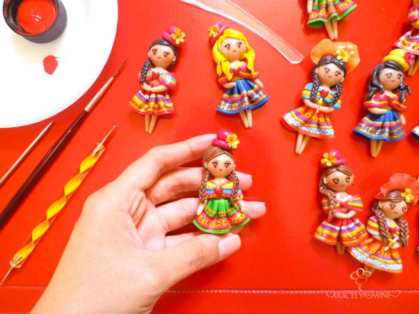 muñecas peruanas cholitas imanes hechas de porcelana fria