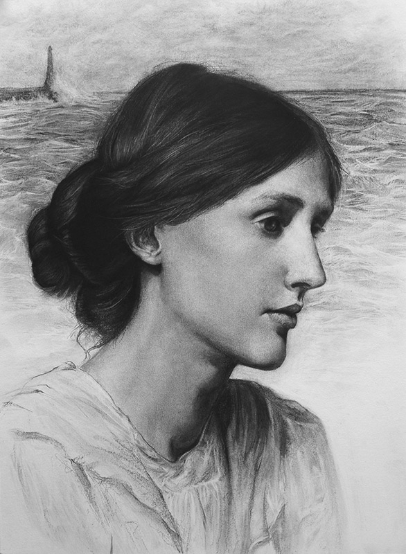 07-Virginia-Woolf-Liu-Ling-Faces-of-Writers-in-Charcoal-Drawings-www-designstack-co